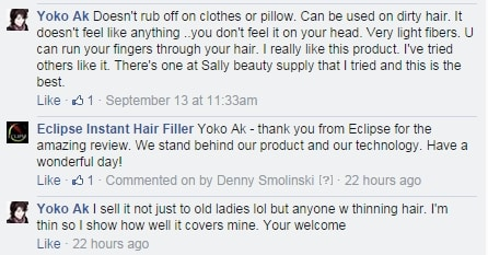 Eclipse Stylist Testimonial from Facebook